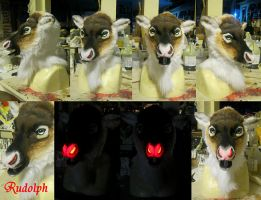 Rudolph the red nosed fursuit head! by Crystumes