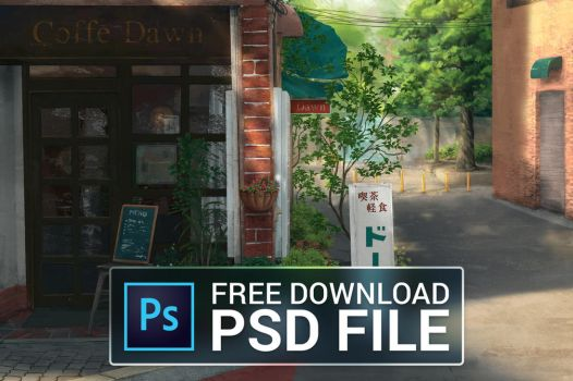 FREE PSD file - Afternoon at a Cafe by qs2435