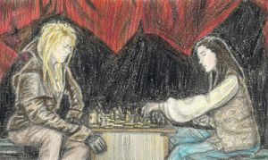 Goblin King and Sarah playing chess by gagambo