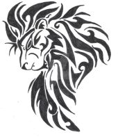 Large tribal lion head by tessasglory