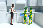 Promo image of a woman with two housemaid robots by hhemken