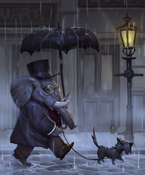 Victorian Dog Walking by joekelleriv