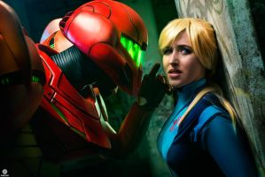 Samus and the SA-X by Samus-Cosplay