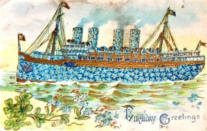 Blue Floral Ocean Liner by Yesterdays-Paper