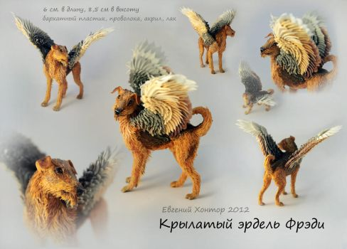 Winged Airedale Fred by hontor