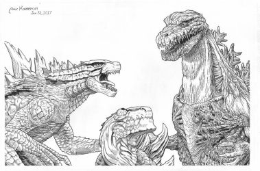 Zilla in the middle. by AmirKameron