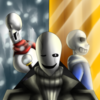 Gaster, Sans, Papyrus (Genocide Route) by StoileArt