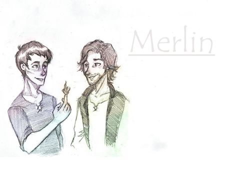 Gwaine and Merlin by Antinicole