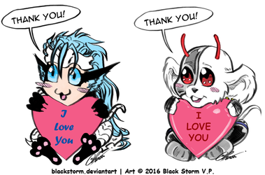 Chibi Grimmjow and Vinnie -Thank You- by blackstorm