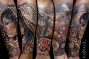 Tylers forearm piece. by LizCookTattoo