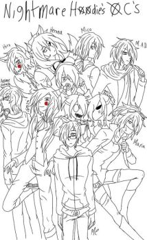 Nightmare hoodie's oc's (almost) by Mazsliver