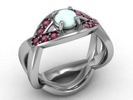 Ruby and opal crisscross ring by lupusk9