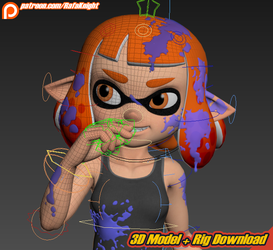 Inkling Girl - 3D Model + Rig Download by Elesis-Knight