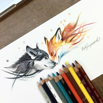 Fox and Wolf by Lucky978