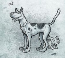 Scooby Doo - Scooby and Scrappy by petipoa