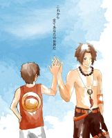 Asce and Luffy by cyrusHisa