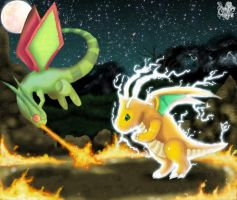 Dragonite VS Flygon by Pand-ASS