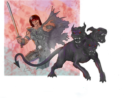 Cerberus, 3 headed dog drawing (Colored) by electronicdave