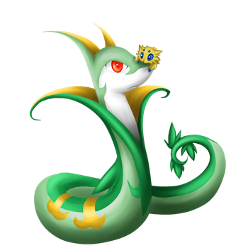 Serperior and Joltik... thing by Nero-Blackwing