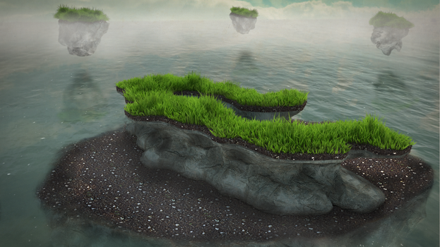 Grassy rocks by Zatemedek
