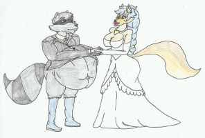 mpreg Sly and Carmelita getting married by SHADOWLOUIX