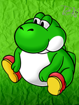 Yosh in paper mario style by TorchicZK