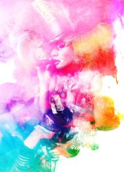 Cigar Smoking Lady Clown in a rainbow haze by bourboncream