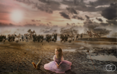 Photomanipulation | Alone against war by Goldow