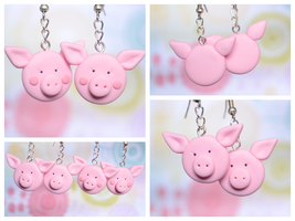 Handmade Cute Polymer Clay Pig Earrings by TheLinnypig