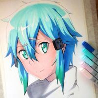 Sinon Copic Marker Drawing - SAO Fan Art by LethalChris