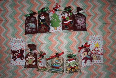 Embroidered Christmas Treat Bags by Darkwisher93