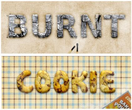 Burnt Wood And Cookie Text by Chrisdesign