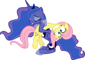 Luna and Fluttershy Vector by hombre0