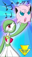 Jiggly On Gardevoir's Hand (coloured) by Imaflashdemon