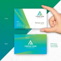 Blue Green Business Card Vector Template by pixiagraphics