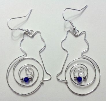 silver wire cat earrings with blue pearls by syn-O-nyms