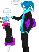 casual fun day for the jester twins by GrimaceJester