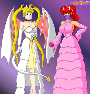 Commission: Dressed-up Demon Usagi and Ranma-chan by NekoHybrid