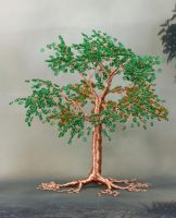 Green bead and copper wire tree of life sculpture by Twystedroots