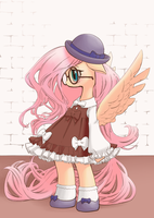 Fluttershy in a Lolita dress by conbudou