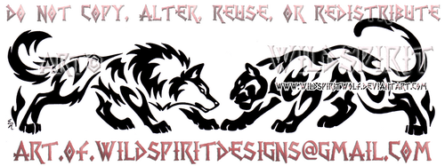 Wolf And Panther - Horizontal Design by WildSpiritWolf