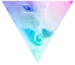 Triangle decor - Galaxy angry wolf by Martith