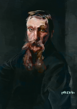 Portrait of Rodin after Sargent colorized by Maekyo