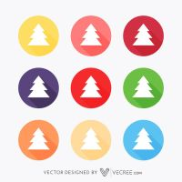 Christmas Tree Icons Free Vector by vecree