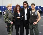 Starbuck, Roslin, Baltar, and Boomer by galacticat