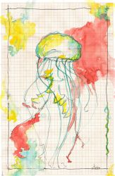 Jellyfish on graph paper by lenischoen