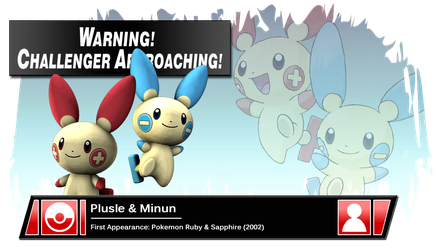 SSB4 Banner: Plusle and Minun by Pixiy