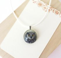 Pendant \ necklace with hand painting. Owl by HappyGlassJewelryArt