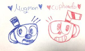 Mugman and cuphead doodle  by Chocliy