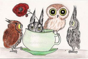 Owls at Teatime by InkyDreamz